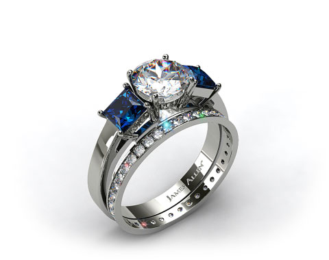 18k White Gold Three Stone Princess Shaped Blue Sapphire Engagement Ring &amp; 0.26ct Pave Eternity Band